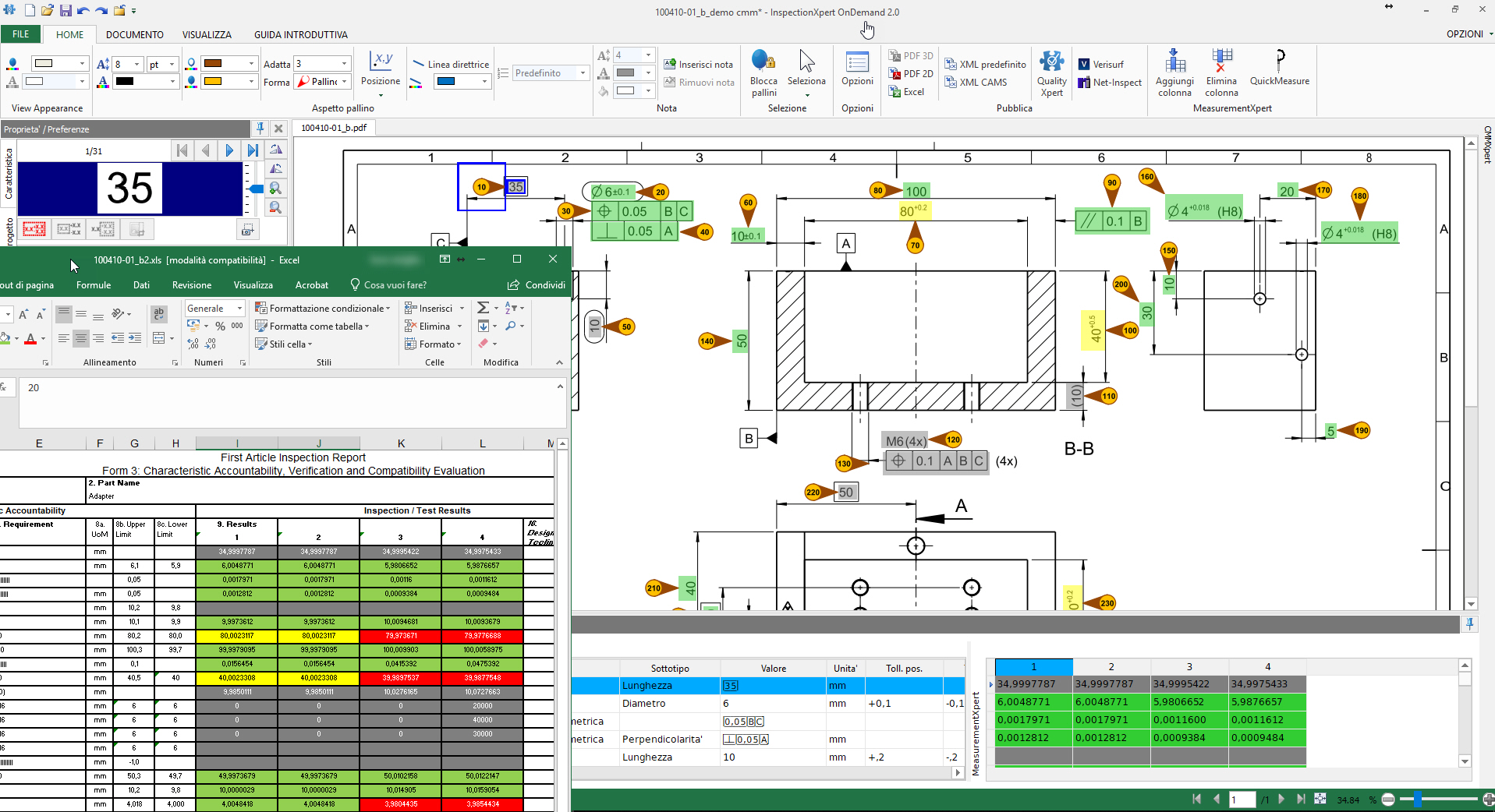 Pallinatura automatica disegni e piani di controllo FAIR, PPAP